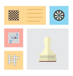 flat icon games set of pawn guess chess table vector image vector image