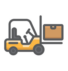 forklift delivery truck filled outline icon vector image vector image