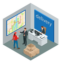 isometric delivery service or courier service vector image