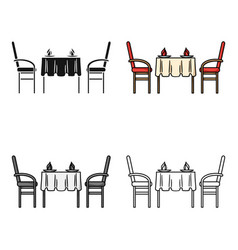 restaurant table icon in cartoon style isolated on vector image