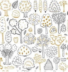 Seamless sketch pattern with trees vector image