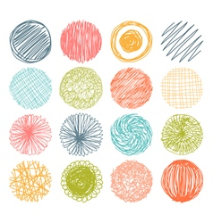 Set of hand drawn scribble circles design elements vector image