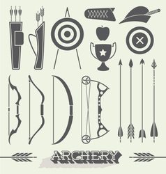 Archery Icons and Silhouettes vector image