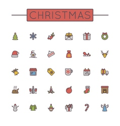 Colored Christmas Line Icons vector image vector image