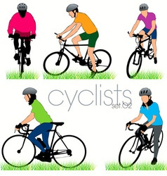 cyclists 02 vector image vector image