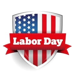 Labor day sign with usa flag shield vector