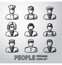 Set of hand drawn people faces - different vector image vector image