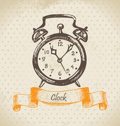 Alarm clock hand drawn vector image vector image