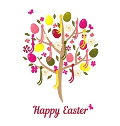easter tree with eggs and flowers vector image vector image