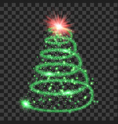 green particle wave in form of christmas tree vector image vector image