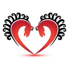 Horses and heart shape logo vector image