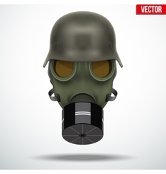 Military german helmet with gas mask vector image