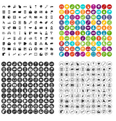 100 mobile icons set variant vector