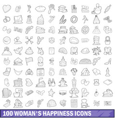 100 woman happiness icons set outline style vector