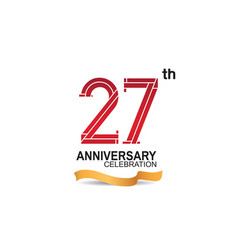 27 anniversary celebration logotype with red vector