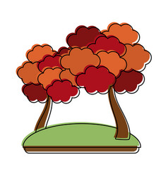 autumn trees symbol vector image