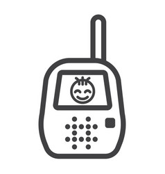 baby monitor line icon mobile and child control vector image