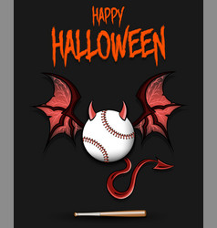 baseball ball with horns wings and devil tail vector image