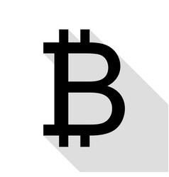 bitcoin sign black icon with flat style shadow vector image
