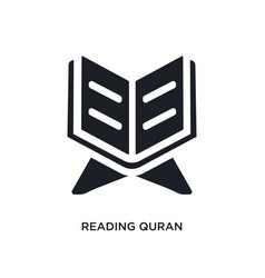Black reading quran isolated icon simple element vector