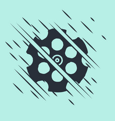 black revolver cylinder icon isolated on green vector image