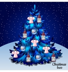 Blue Christmas tree with toys on a starry sky vector image