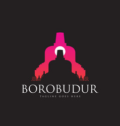 borobudur ancient buddhist temple close up vector image