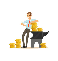 businessman standing next to the anvil with gold vector image