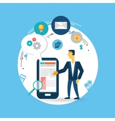 businessman working on the phone vector image