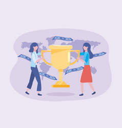 businesswomen with cup prize and bills with global vector image