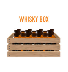 Cartoon box with whiskey bottles drink vector