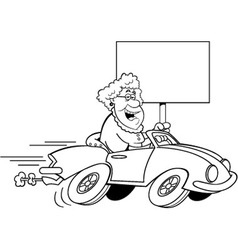 Cartoon old lady driving a sports c vector