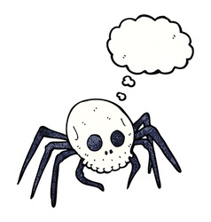 Cartoon spooky halloween skull spider with thought vector