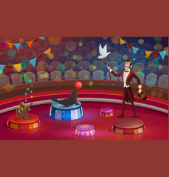 Circus arena magician or animal handler vector