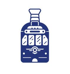 city retro tram line icon in outline design vector image