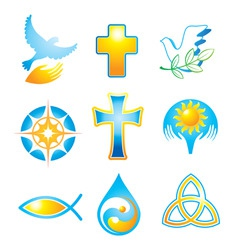 Collection religious symbols vector