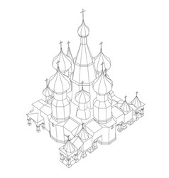 contour of the church with domes isometric view vector image