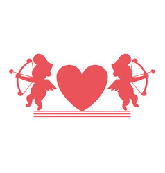 Cupids and hearts silhouettes vector