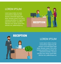 Customer at reception Reception service hotel desk vector