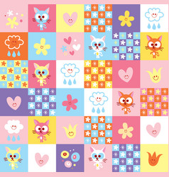 Cute kittens clouds and flowers pattern vector
