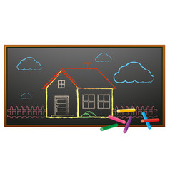 doodle house on the board vector image