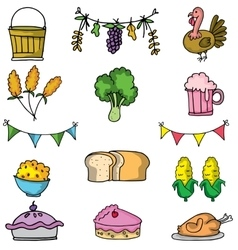 Doodle of food thanksgiving set vector
