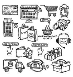 E-commerce icons set sketch vector