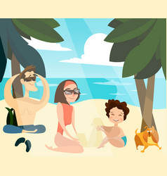 Family beach holidays vector