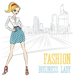 fashion business girl in Defense vector image