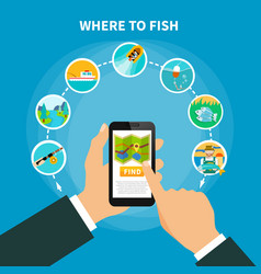 Fishing area finder concept vector