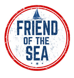 friend sea sign or stamp vector image