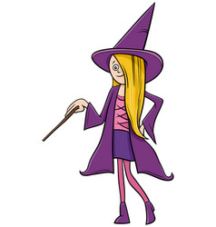 girl in witch costume at halloween party cartoon vector image