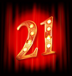 Gold numbers 21 greeting card vector