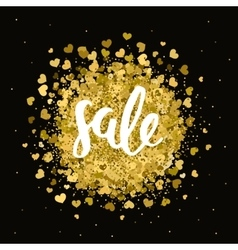 Gold sale label with handdrawn lettering vector